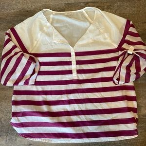 Loft Purple and White Career Style Blouse